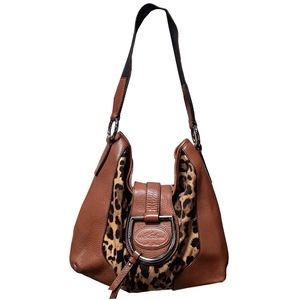 Dolce and Gabbana Leather and Leopard Hobo Bag